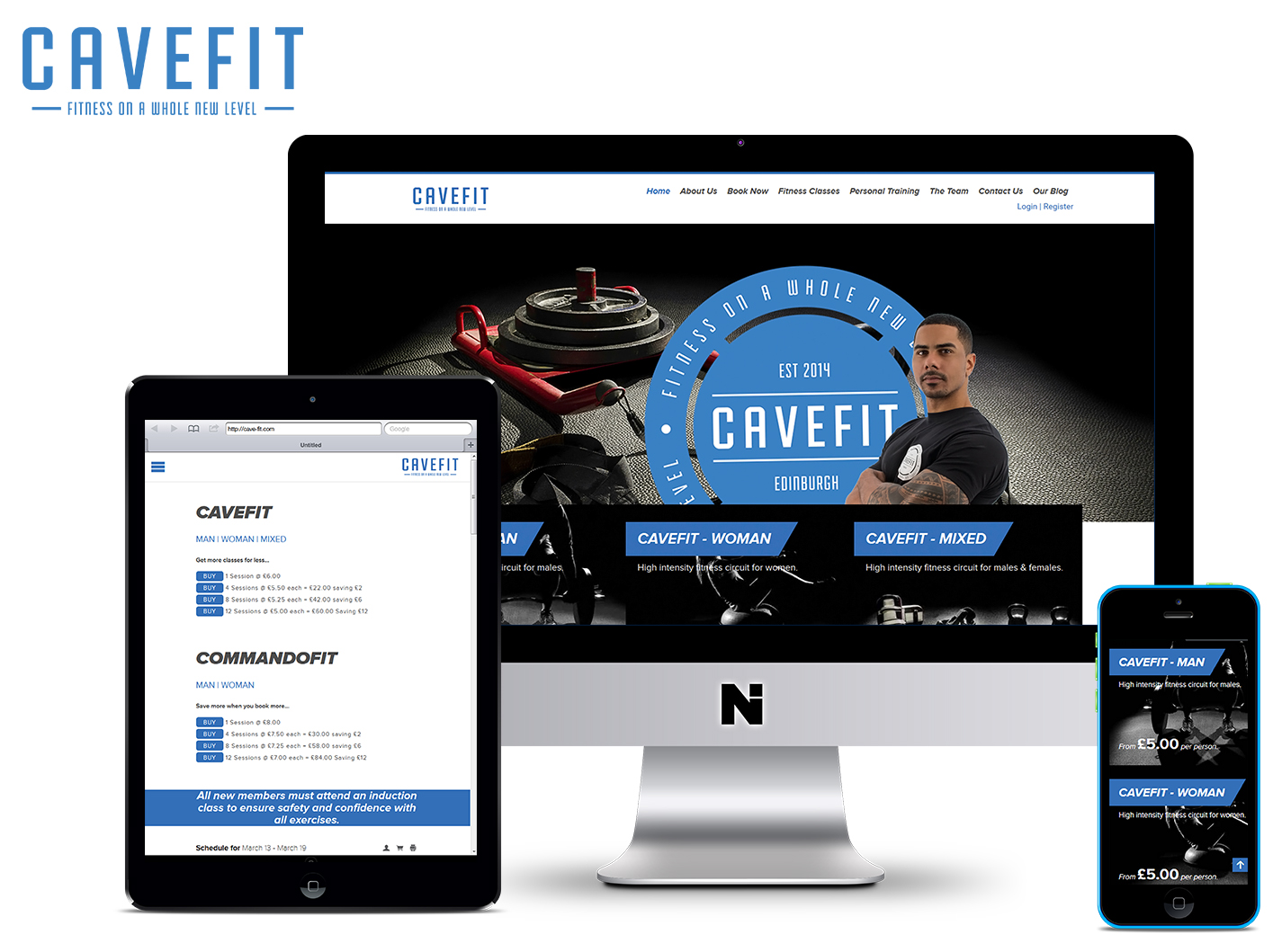 CaveFit Gym with booking system on multiple devices